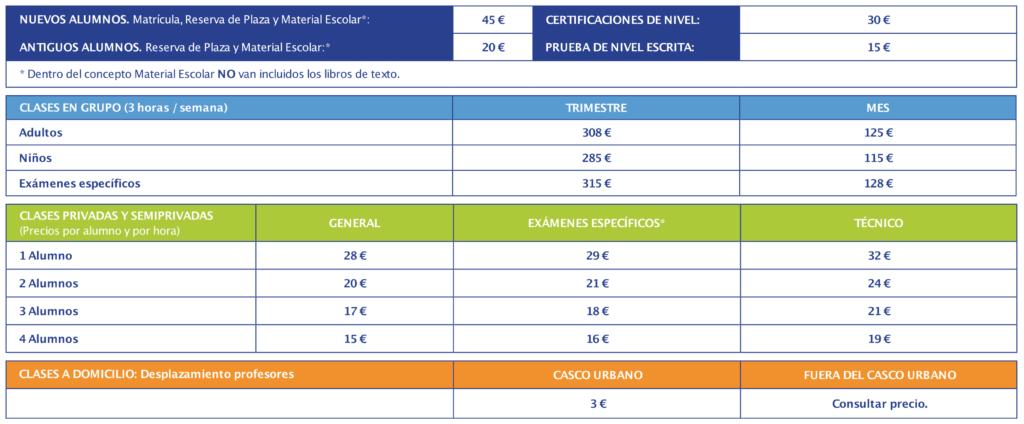 tabla-tarifas-cursos-presenciales-idiomas-kells-school-academia-idiomas-santander